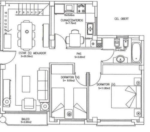Planos viviendas for Planos de cocina y comedor